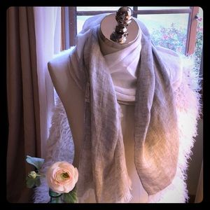 Pure Lino Scarf In Beige/Cream Made in Italy